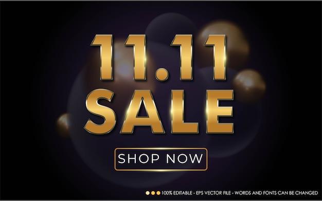 편집 가능한 텍스트 효과, 11.11 판매 스타일 일러스트레이션