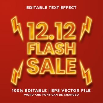 Editable text effect - 12.12 flash sale template style premium vector