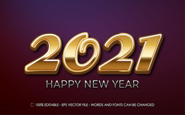 Editable text effect, 2021 happy new year gold 3d style illustrations