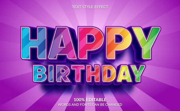 Editable text effect, 3d happy birthday text style