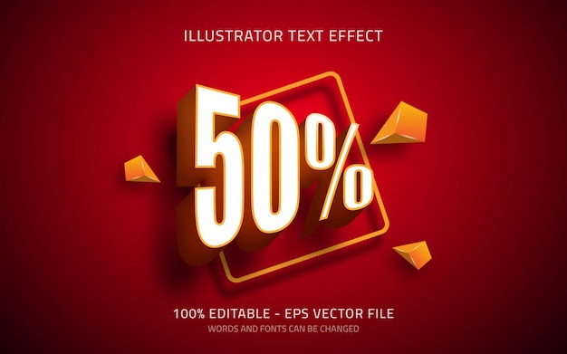 Editable text effect, 50% style illustrations
