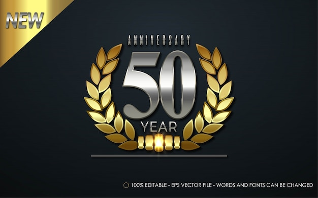 Editable text effect, 50 year anniversary style illustrations