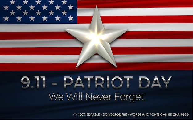 Editable text effect, 9.11 patriot day style illustrations