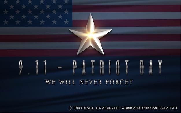 Редактируемый текстовый эффект, иллюстрации в стиле дня патриота 9.11