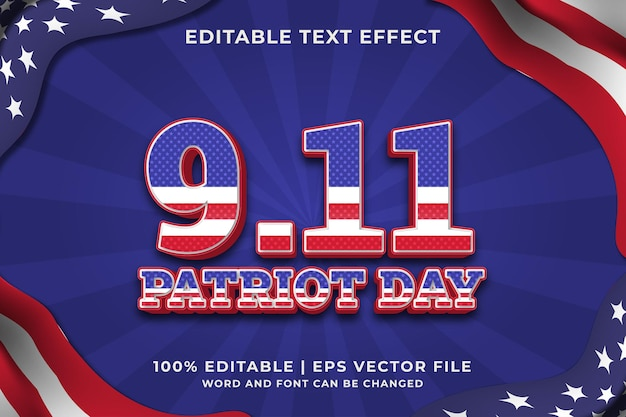 Editable text effect - 9.11 patriot day template style premium vector