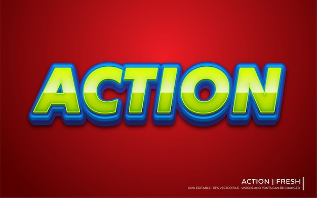 Editable text effect, action style