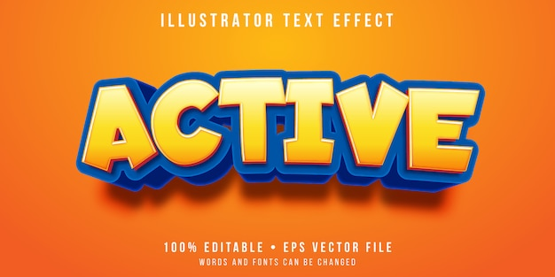 Editable text effect - active cartoon style