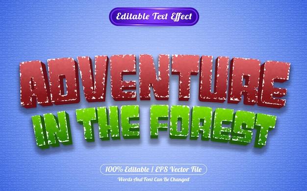 Редактируемый текстовый эффект приключение в стиле шаблона леса