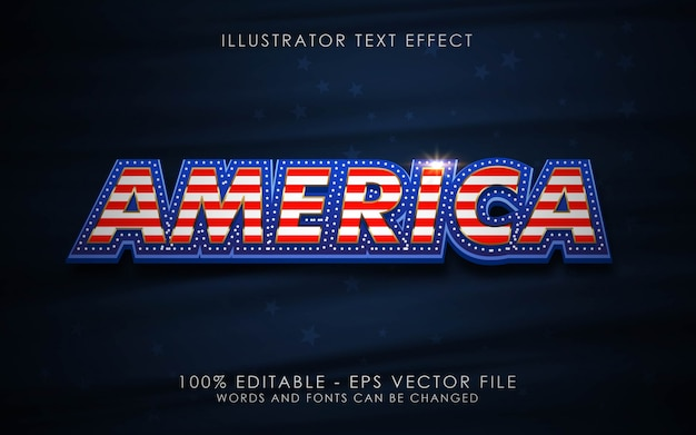 Редактируемый текстовый эффект, флаг америки