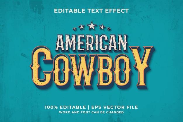 편집 가능한 텍스트 효과 - 미국 카우보이 빈티지 스타일 템플릿입니다. 프리미엄 벡터