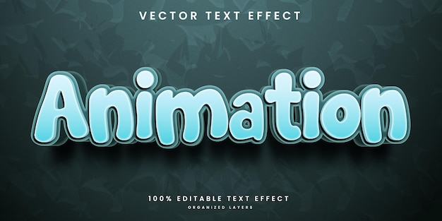 Editable text effect in animation style premium vector