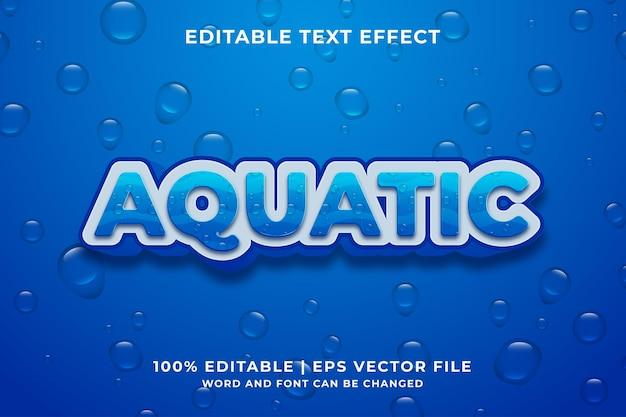 Editable text effect - aquatic cartoon style 3d template premium vector