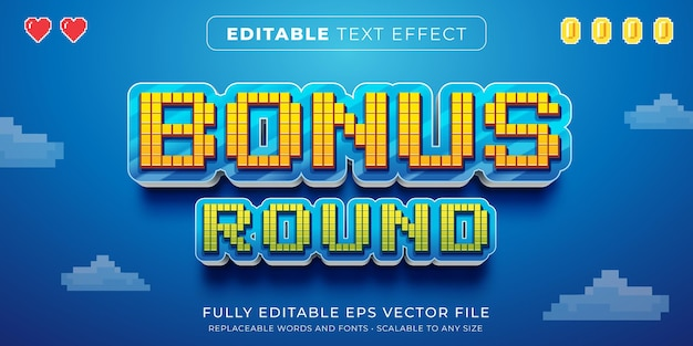Editable text effect in arcade pixels game style