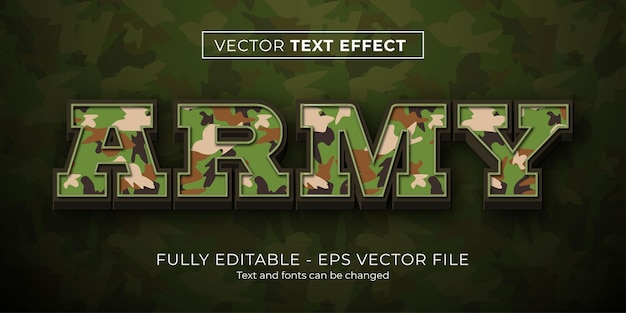Editable text effect army camouflage style
