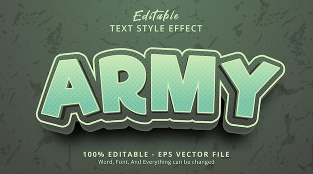 Editable text effect, army text on green color cartoon style effect