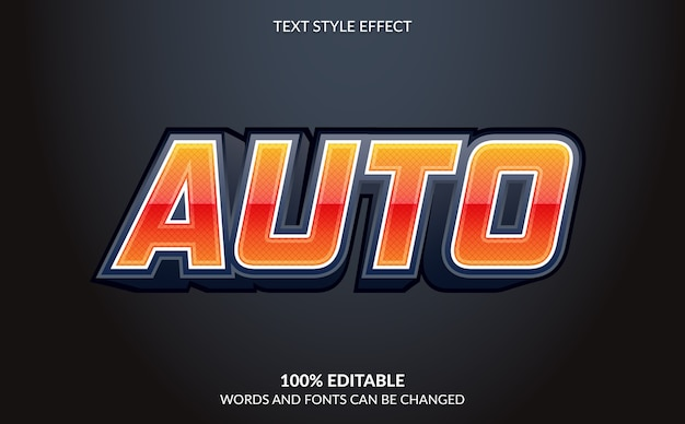 Editable text effect automobile text style