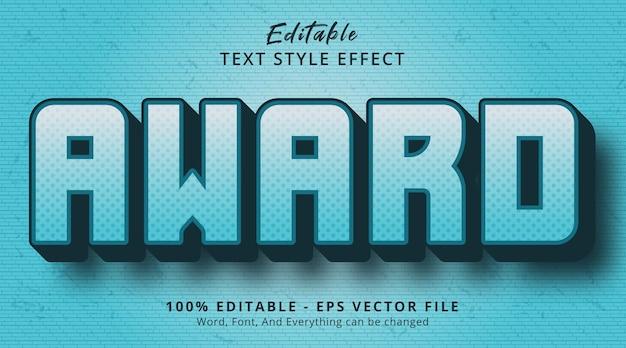 Редактируемый текстовый эффект, текст награды в стиле синего цвета