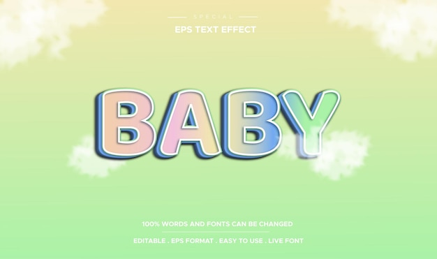 Editable text effect baby style