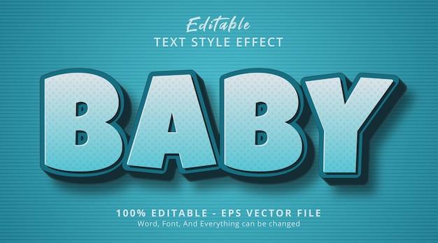 Editable text effect, baby text on cartoon style effect