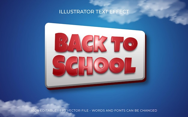 Editable text effect back to school on blue background