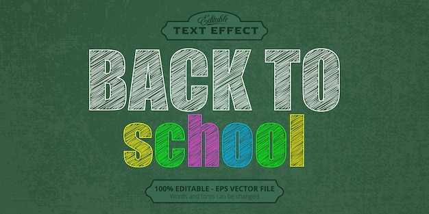Editable text effect, back to school text, sketch style