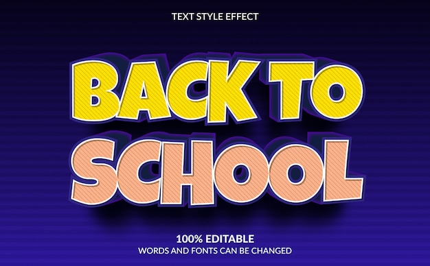 Editable text effect, back to school text style