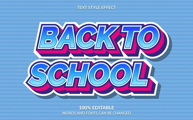 Editable text effect, back to school with comic style