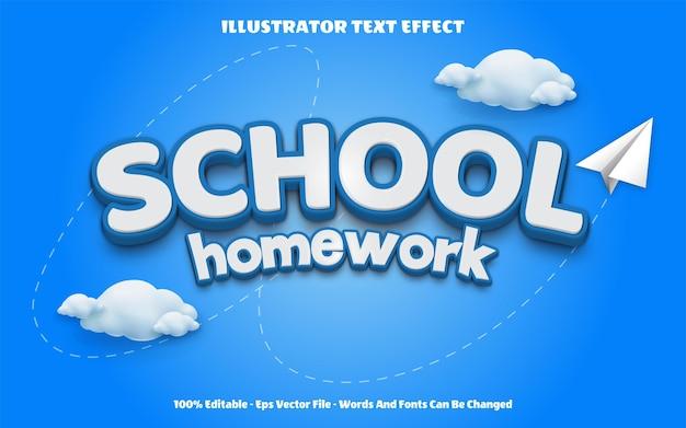 Редактируемый текстовый эффект обратно в школу