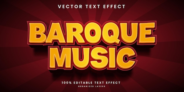 Editable text effect in baroque music style