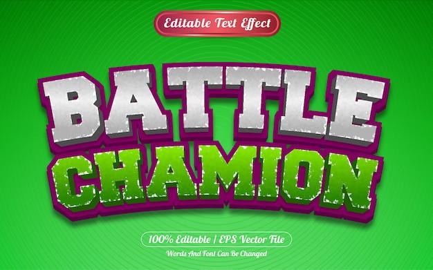 Редактируемый текстовый эффект боевого чемпиона в стиле шаблона