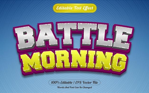Редактируемый текстовый эффект боевого утра в стиле шаблона