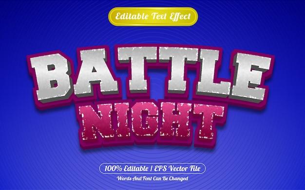 Редактируемый текстовый эффект битва ночь шаблон стиля