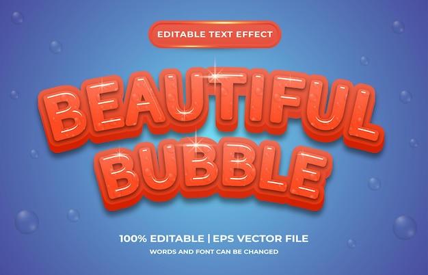 편집 가능한 텍스트 효과 아름다운 거품 템플릿 스타일