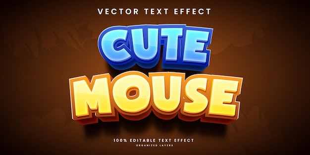 Editable text effect in beautiful cute mouse style premium vector
