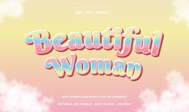Editable text effect beautiful woman style