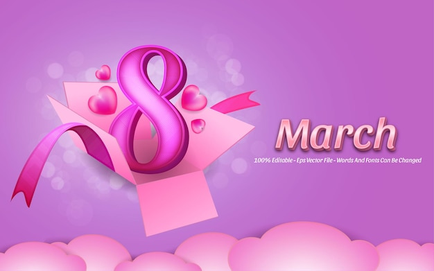 Editable text effect, beautiful womans day  march style illustrations