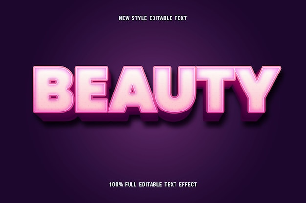 Editable text effect beauty color white and pink