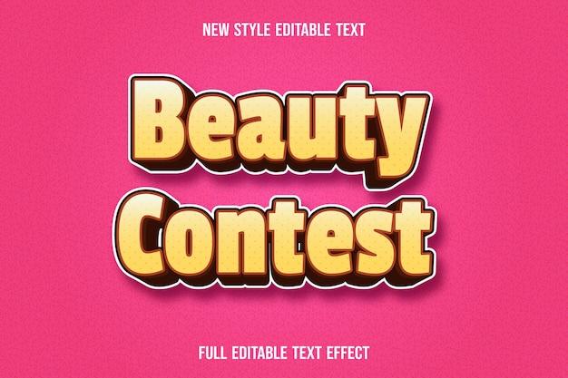 Редактируемый текстовый эффект конкурса красоты цвет желтый и коричневый