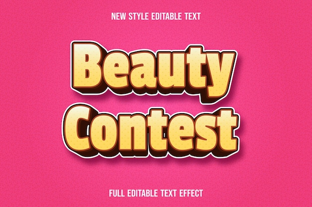 Editable text effect beauty contest color yellow and brown