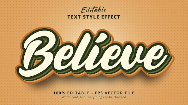 Editable text effect, believe text on layered color combination style
