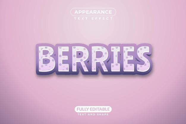 편집 가능한 텍스트 효과 berries 효과 스타일