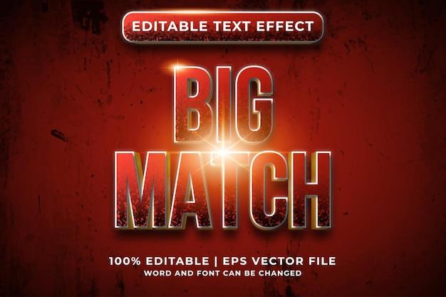 Editable text effect - big match template style premium vector