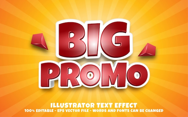 Editable text effect, big promo style illustrations