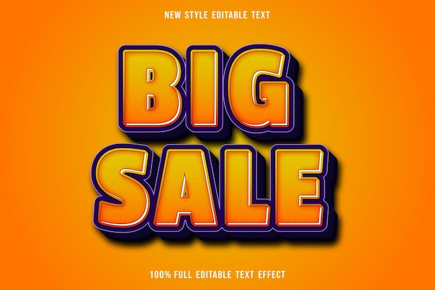 Editable text effect big sale color orange and purple