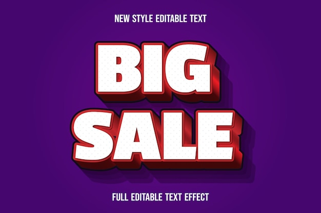 Editable text effect big sale color white and red
