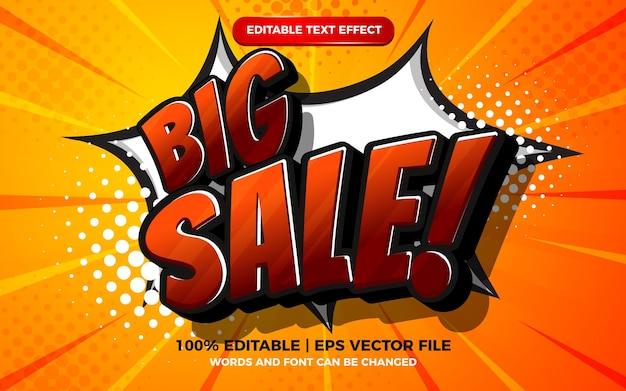 Редактируемый текстовый эффект - большая распродажа на полутоновом фоне комиксов