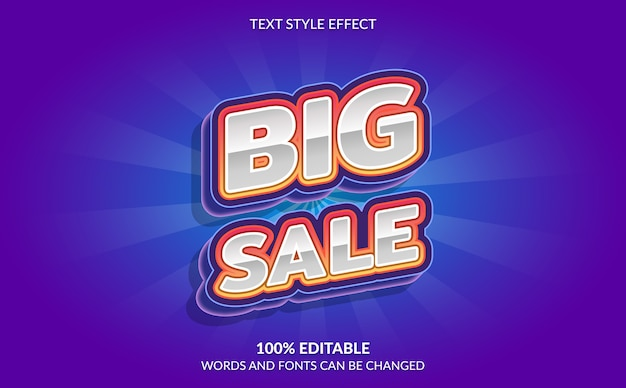 Editable text effect big sale text style