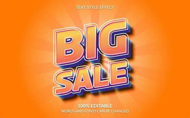 Editable text effect, big sale text style