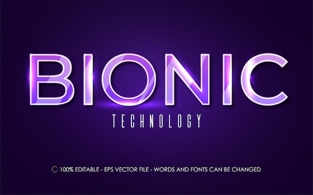 Editable text effect, bionic style illustrations