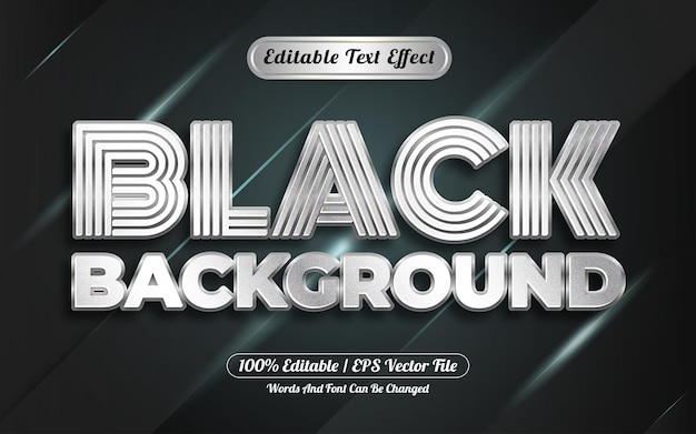 Editable text effect black background style silver